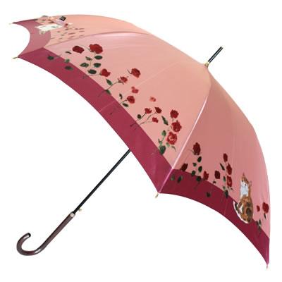 【レディース傘】婦人用雨傘 マンハッタナーズ レディース「猫とバラ」ワンタッチ式 雨傘ツートーンのベースと、きょとんとした猫の表情がマンハッタナーズらしい独特のバランス