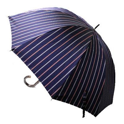 【父の日ラッピング無料~6/18まで】 【_包装】メンズ/紳士用先染柄手開き雨傘【対応】 雨傘【プレゼントに最適】張りと艶のある厚手生地とブドウの木による手元がシンプルを個性的に。