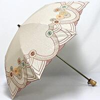 「マルチカラー刺繍」 婦人用日傘・晴雨兼用傘折り畳み 携帯に便利な晴雨兼用の折り畳み傘。