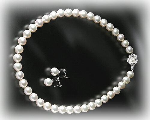 ピアス ハート スイートテン9.5-10mm 大珠本真珠ネックレス&ピアス:KASHIMA