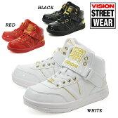 【あす楽対応】VISION BROOKLYNE KIDS 021 BLACK WHITE RED ヴィジョン ブルックリン キッズ ブラック レッド ホワイト キッズ 子供用 衣装 ヒップホップ ダンスシューズ スニーカー 15FW 1509 sgs 10vb