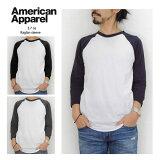 American Apparel ����ꥫ�ѥ�� 3.7oz 7ʬµ �饰���T����� ���ᥢ�� ̵�� MADE IN USA ��� ��ǥ����� ��˥��å��� �١����ܡ���T����� TB453 1601