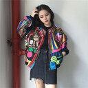 絶対人とかぶらない!アーティスティックなド派手ジップアップブルゾン 原宿系 ファッション レディース カットソー かわいい 服 奇抜 派手 カワ 個性的 ダンス 衣装 ヒップホップ 韓国