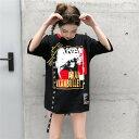 韓国 ストリート スケーター ステージ衣装 ダンス衣装 ガールズ ファッション HIPHOP ロゴ 半袖 Tシャツ レディース ダンス 衣装 ヒップホップ 派手 カワ な 服 原宿 個性的 トップス