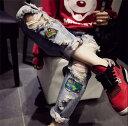 2019 新作 韓国 ストリート系 スケーター B系 K-POP ファッション HIPHOP ダメージ加工 ジーンズ ゆったり デニム サルエルパンツ レディース ダンス 衣装 ヒップホップ 派手 カワ な 服 個性的 パンツ