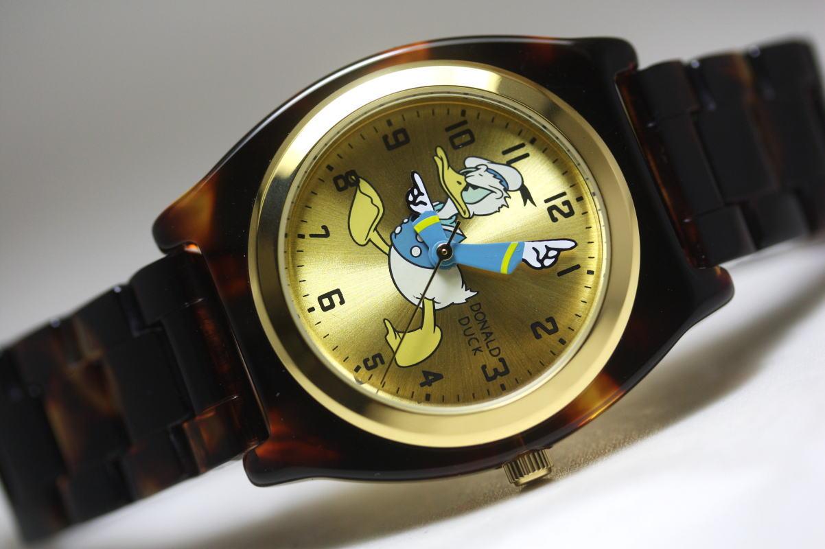 Donald Duck【ドナルドダック】べっ甲調ドナルド/クォーツ腕時計/Disney【ディズニー】デザインウォッチMickey Mouse【ミッキーマウス】