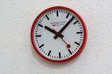 赤いケース枠が特徴的な掛時計!スイス鉄道時計のMONDAINE【モンディーン】Wall Clockレッド・ウォールクロック/掛時計/正規代理店商品