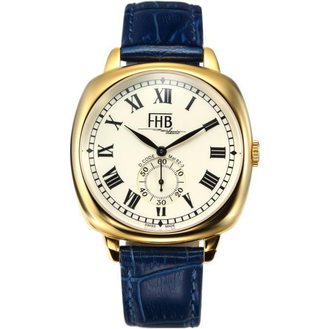 限定FHB Classicスクエア・デザインウォッチ/メンズ腕時計/ゴールドとネイビーの組み合わせ! クッションケースを採用したクラシックデザイン