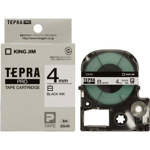 キングジム テプラ PROテープ 白ラベル 4mm 黒文字
