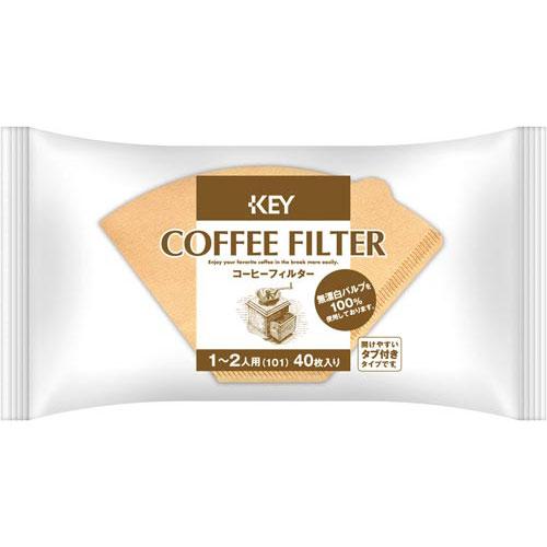 キーコーヒー コーヒーフィルター2人用無漂白タブ付40枚入
