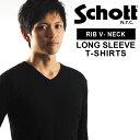 送料無料 Schott ショット リブ ロングスリーブ Vネック Tシャツ 3123091 SCHOTT ショット 161203ss50