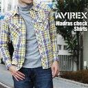 送料無料 AVIREX アビレックス マドラスチェックウエスタンシャツ アヴィレックス デイリー メンズ トップス 長袖 ウエスタン チェックシャツ ミリタリー ワーク カジュアル アメカジ