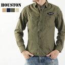 送料無料 HOUSTON ヒューストン ミリタリーシャツ 40149 メンズ トップス 長袖 シャツ ミリタリー トレンド ワッペン 刺繍