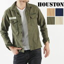 送料無料 HOUSTON ヒューストン ミリタリーシャツ 40150 メンズ トップス 長袖 シャツ ミリタリー トレンド ワッペン 刺繍