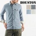 送料無料 HOUSTON ヒューストン シャンブレーワークシャツ 40151 メンズ トップス 長袖 シャツ シャンブレー ワーク シャツ