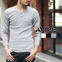 送料無料 AVIREX アヴィレックス デイリー ロングスリーブ サーマル VネックTシャツ 6163462 メンズ 長袖 ワッフル トップス カットソー インナー ロンt ロンT 無地 シンプル
