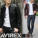 送料無料 AVIREX アヴィレックス オイリー カウスキン シングルライダースジャケット 6161068 メンズ レザージャケット 革ジャン シングルライダース 牛革 本革 ダブルジッパー 黒 バイカー