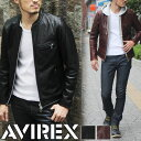 AVIREX アヴィレックス オイリー カウスキン シングルライダースジャケット 6161068 メンズ レザージャケット 革ジャン シングルライダース 牛革 本革 ダブルジッパー 黒 バイカー 161203ss