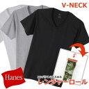 送料無料 Hanes ヘインズ レンジャーロール VネックTシャツ HM1EH722S メンズ 半袖 トップス カットソー インナー 白 黒 グレー 無地 シンプル 薄手 ギフト プレゼント