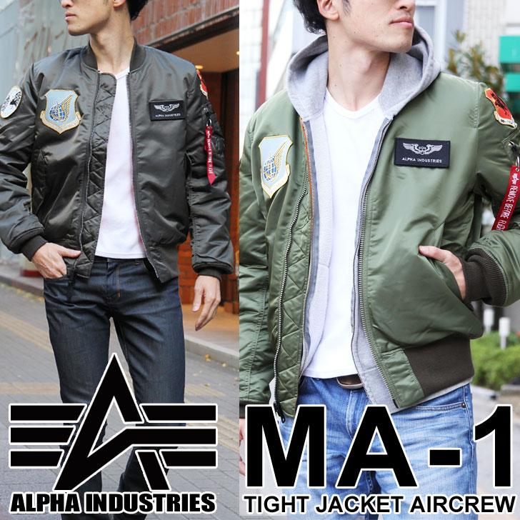 送料無料 日本限定モデル ALPHA アルファ MA-1 TIGHT JKT AIRCREW メンズ アウター エムエーワン ミリタリー フライトジャケット ジャンバー ブルゾン ワッペン アメカジ