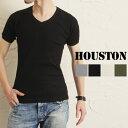 送料無料 HOUSTON ヒューストン Vネック ワッフル 半袖Tシャツ メンズ トップス Tシャツ 半袖 Vネック ブランド サーマル ラグラン ワッフルTシャツ ワッフル ミリタリー カジュアル
