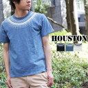 送料無料 求心柄 プリントTee HOUSTON ヒューストン アメカジ Tシャツ ネイティブ インディゴプリント クルーネック 春夏 メンズ 21173
