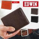 送料無料 EDWIN エドウィン 二つ折りウォレット メンズ 二つ折り 財布 サイフ walet 牛革 レザー 財布 定期入れ カード入れ