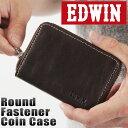 送料無料 財布 ミニ財布 ラウンドファスナーコインケース メンズ 小銭入れ 財布 メンズ 牛革 サイフ EDWIN エドウィン 牛革 レザー