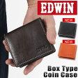 送料無料 財布 ミニ財布 コインケース メンズ 小銭入れ 財布 メンズ サイフ BOX型コインケース EDWIN エドウィン 牛革 レザー