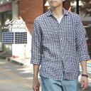 送料無料 リネンシャツ ciao フレンチリネン ギンガムチェック7分袖シャツ チャオ メンズ ブルー ブラック 麻 リネン カジュアル チェックシャツ 夏 春 トップス