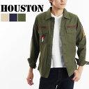 送料無料 ARMYワッペン ミリタリーシャツ 40233 HOUSTON ヒューストン メンズ ブランド 長袖 カーキ ネイビー オリーブ アメカジ ワークシャツ ワークウエア 軍服 カジュアル アーミー