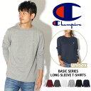 Champion チャンピオン Tシャツ 長袖 Basicシリーズ ロングスリーブTシャツ C3-J424 メンズ レディース トップス ロンT カットソー インナー クルーネック 丸首 シンプル ロゴ 刺繍 ユニセックス ブランド