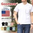 送料無料 Goodwear グッドウェア ポケット Vネック Tシャツ メンズ レディース vネック 綿 USAコットン カットソー トップ...