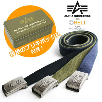 ALPHA Alpha-Tin BOX with basic logo GI belt ガチャベルト cotton belt mens casual casual