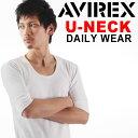 送料無料 AVIREX アビレックス デイリー5分袖UネックT メンズ トップス インナー カットソー Tシャツ 五分袖 ミリタリー アメカジ カジュアル アヴィレックス 161203ss