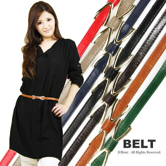 Less than half! 50% Off ★ X ラインリボン narrow belt Womens Ribon slim belt West mark feminine casual simple buckle.
