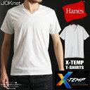 Hanes ヘインズ X-TEMP VネックTシャツ タグレス メンズ 男性 Tシャツ クルーネック アンダーウェア インナー 機能素材 P06May16
