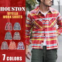送料無料 HOUSTON ヒューストン ビエラワーク チェックシャツ 40108 メンズ トップス シャツ アメカジ シャツ カジュアル シャツ チェック シャツ ビエラ シャツ ヴィエラ シャツ