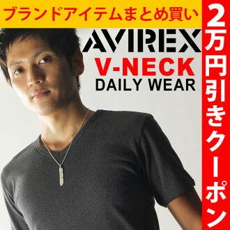 AVIREX avirex daily V Neck T shirt short sleeve plain underwear business men