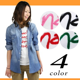 Logo design embroidery T-shirt Lady's short sleeves tops cut-and-sew inner English flowing script white T is casual