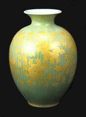 九谷焼 吉田美統 12.5号花瓶・釉裏金彩牡丹唐草文
