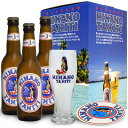 グラスとヒナノビール3本セットで1399円!通常グラスだけでも735円〜945円で販売されています!ビールも1本〜474円くらいで販売されています。タヒチのビール【ヒナノ3本】オリジナル限定グラス付セット更にオリジナルコースター付!