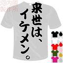 河内國製作所 「来世は イケメン。Tシャツ」全5色。センテンス系おもしろTシャツ 文字T-shirt おもしろてぃーしゃつ 半袖ドライTシャツ メール便は送料無料