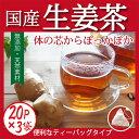 しょうが紅茶 ティーバッグ 体を温める「生姜茶」気軽に飲めるティーパックタイプ免疫力UPにも期待♪2g×20包の3袋セット【送料無料】 こうちゃ【国産 健康茶】