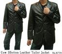 レザージャケット 革ジャン メンズ テーラードジャケット カウ革 テーラーカラー 3つ釦 6779