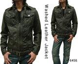 【レザージャケット】【革ジャン】【メンズ】ピッグ革ジャケット ウォッシュド加工 皮ジャケット 6456《》皮ジャン・本革