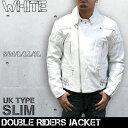 ライダースジャケット 革ジャン メンズ 牛革UKパッドダブルライダースジャケット カウレザージャケット レザージャケット バイクウェア ホワイト 細身 皮の但馬屋 3568W 送料無料