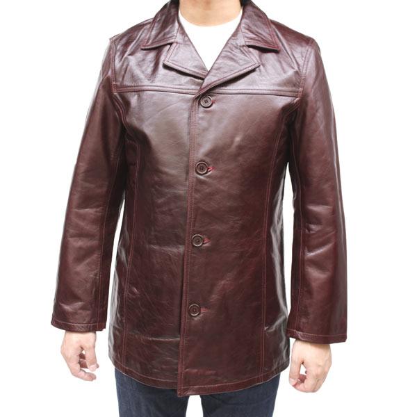 レザージャケット メンズ 革ジャン バッファロー革 カバーオール ワイン 皮ジャン 革ジャケット