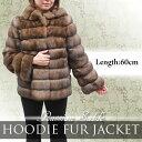 日本製 レディース ファージャケット ロシアンセーブル フード付き 毛皮ジャケット 3942 天然毛皮 高級毛皮 婦人毛皮 毛皮 セーブル