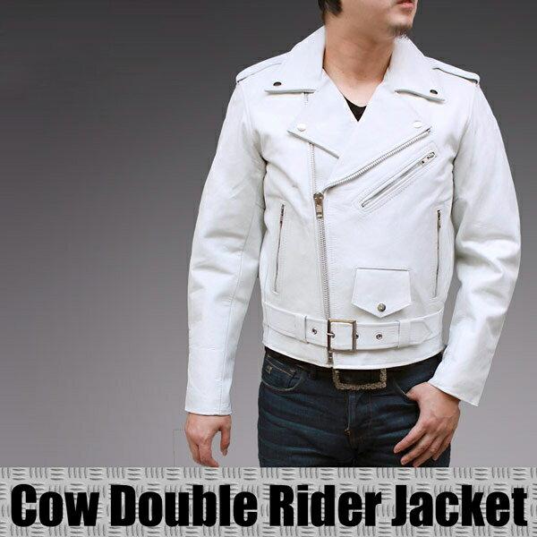 ホワイトカラー 革ジャン メンズ ダブルライダースジャケット 革ジャン カウ革 バイクウェア 本革